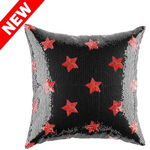 (Kevin Textile Stylish Cushion Covers - Sparkling Sequin Solid Accent Cushion Cover Euro Star Pillow Case for Xmas Home Decor, 18 x 18-Inch, Red, 1 PC)
