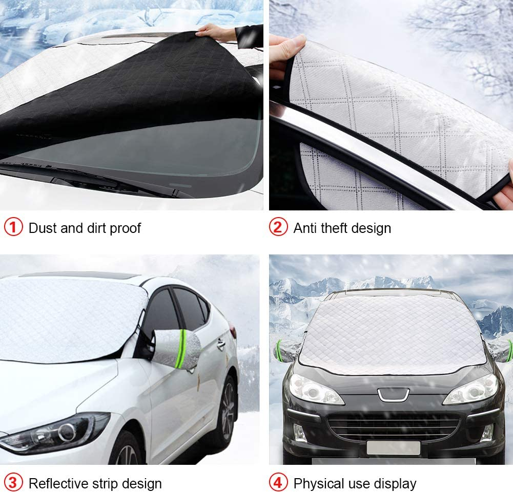 Car Windshield Snow Ice Cover with 4 Layers Protection,Snow,Ice,Sun,Frost Defense UJUJIA Car Windshield Snow Cover Mirror Covers Included Extra Large Windshield Winter Cover Fits Most Cars and SUV