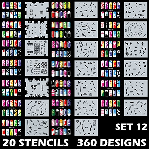 Custom Body Art Airbrush Nail Stencils - Design Series Set # 12 Includes 20 Individual Nail Templates with 18 Designs each for a total of 360 Designs of Series #12 by Custom Body Art