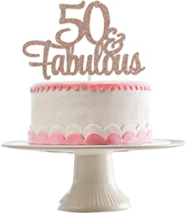 Rose Gold Glittery 50 & Fabulous Cake Topper for 50th Birthday Party Decorations,Birthday Cake Topper Decor(Double Sided Glitter)