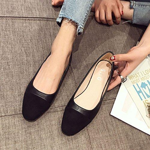 pelle 38 e calzatura Piccole Donne versatile singola e High elegante nero Heeled Grandi in wxIqH1OZ
