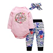 3Pcs Baby Boy Girls Clothes Baby Romper Outfit Pants Set Long Sleeve Winter Clothing (White 2, 0-6 Months)