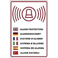"""Panneau """"Alarme sécurisée"""" en plusieurs langues, aluminium Dibond"""