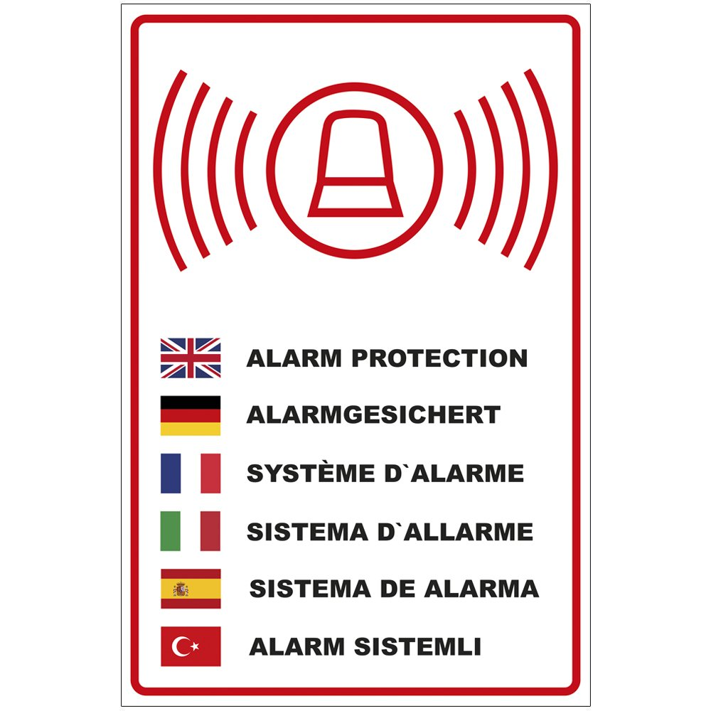 'Plaque 'alarme sécurisé en plusieurs langues en aluminium/Dibond–3mm d'épaisseur 200x 300mm geschenke-fabrik