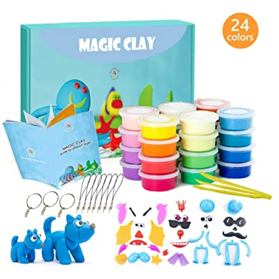 Modeling Clay Kit - 24 Colors Air Dry Ultra Light Magic Clay, Soft & Stretchy DIY Molding Clay with Tools, Animal Accessories, Easy Storage Box Kids Art Crafts Gift for Boys & Girls Age 3-12 year old: Toys & Games