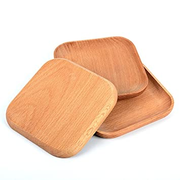Wooden Tableware feeder Beech wood Serving Tray Food Server Plate Dessert Plates Wood Consolidation Wooden Square  sc 1 st  Amazon.com & Amazon.com | Wooden Tableware feeder Beech wood Serving Tray Food ...