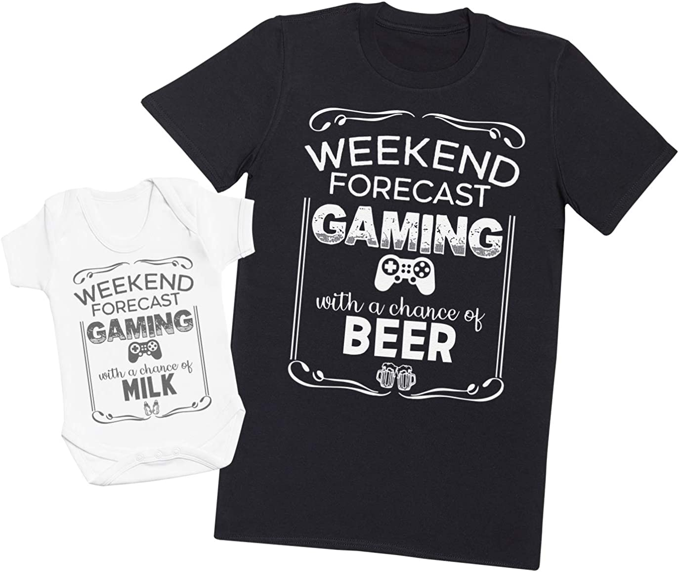 Daddy and Baby Matching T-Shirt and Bodysuit Set Need Beer and Need Milk