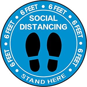 "Social Distancing Floor Decoration Stickers - 30 Pack 8"" Blue Stand Floor Decal - Wait Here Sign Distance of 6 Feet Specialized Sticker Markers, for Crowd Control Guidance, Pharmacy, Bank, Lab"