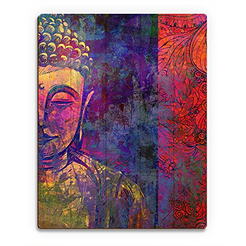 Urban Buddha Purple Graphic Pop Art Floral Paisley in Yellow Purple Blue Red & Pink Wall Art Print on Wood
