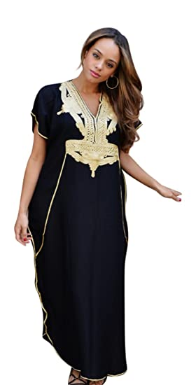 284ea936f33f2 Black with Gold Maxi Dress Beach Cover up Kaftan, great for Ramadan ...