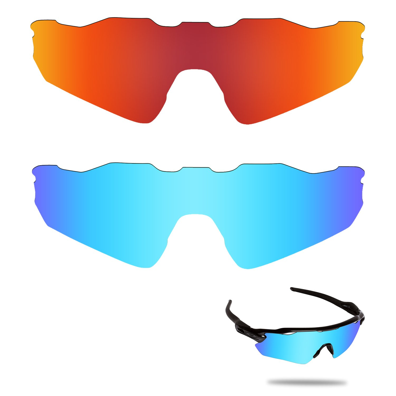 360c5f095c0 Amazon.com  Fiskr Anti-saltwater Polarized Replacement Lenses for Oakley  Radar EV Path 2 Pairs Pack  Clothing