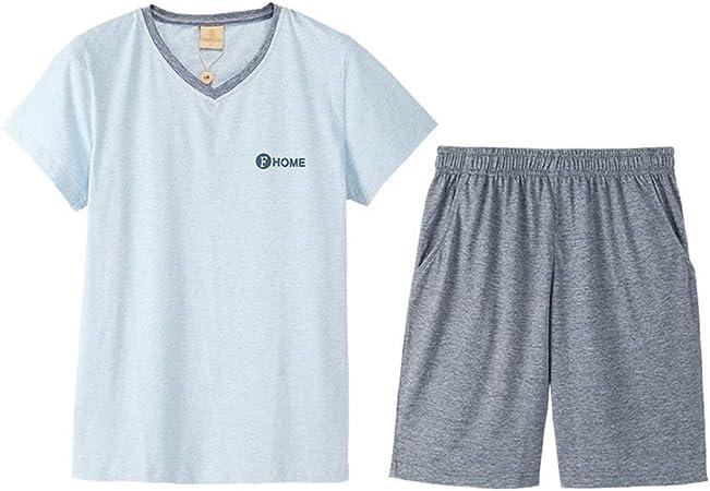 Pijamas Pantalones Cortos De Manga Corta De Algodón De Punto para Hombre De Verano Traje De Servicio En El Hogar De Color Sólido para Hombres Delgados (Color : Blue, Size : L):