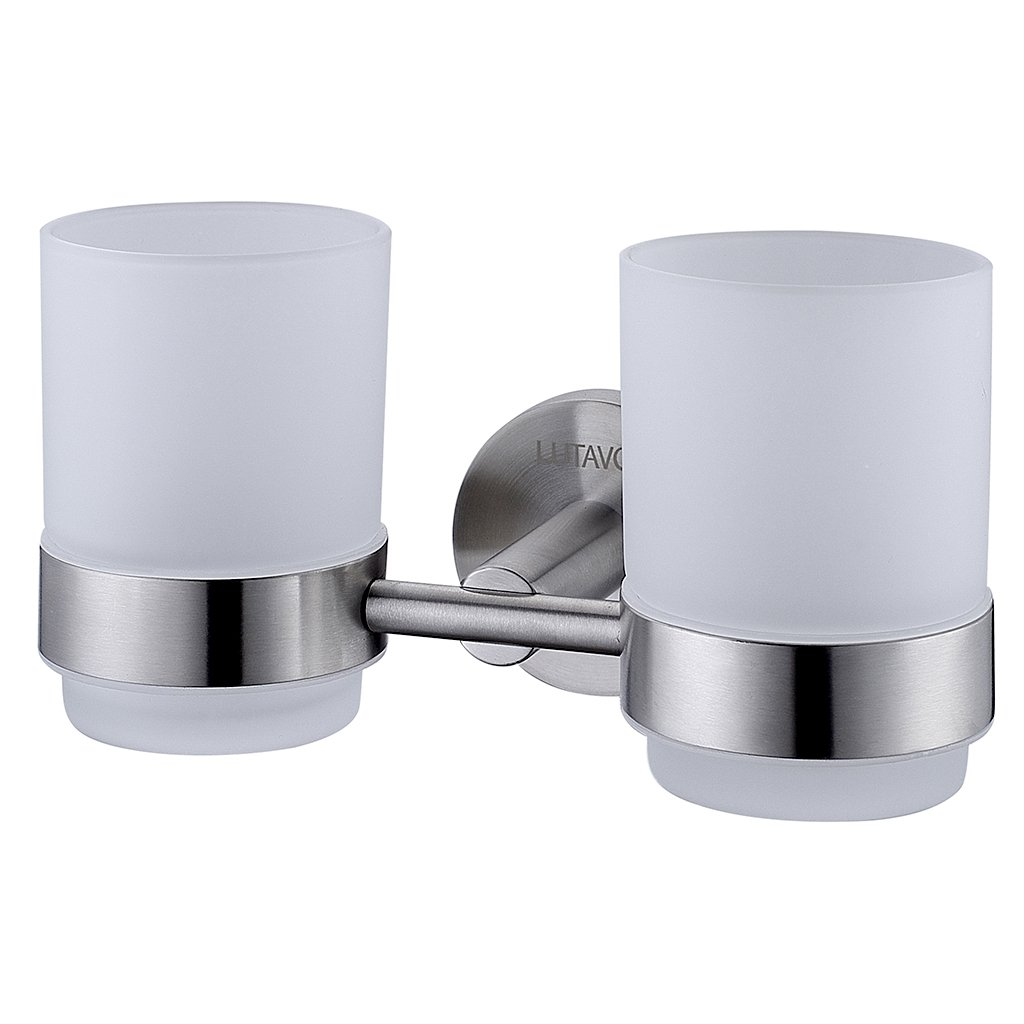 LUTAVOY Wall Double Toothbrush Toothpaste Holder Toothbrush Holder Set of 2 Glass Holder LC22
