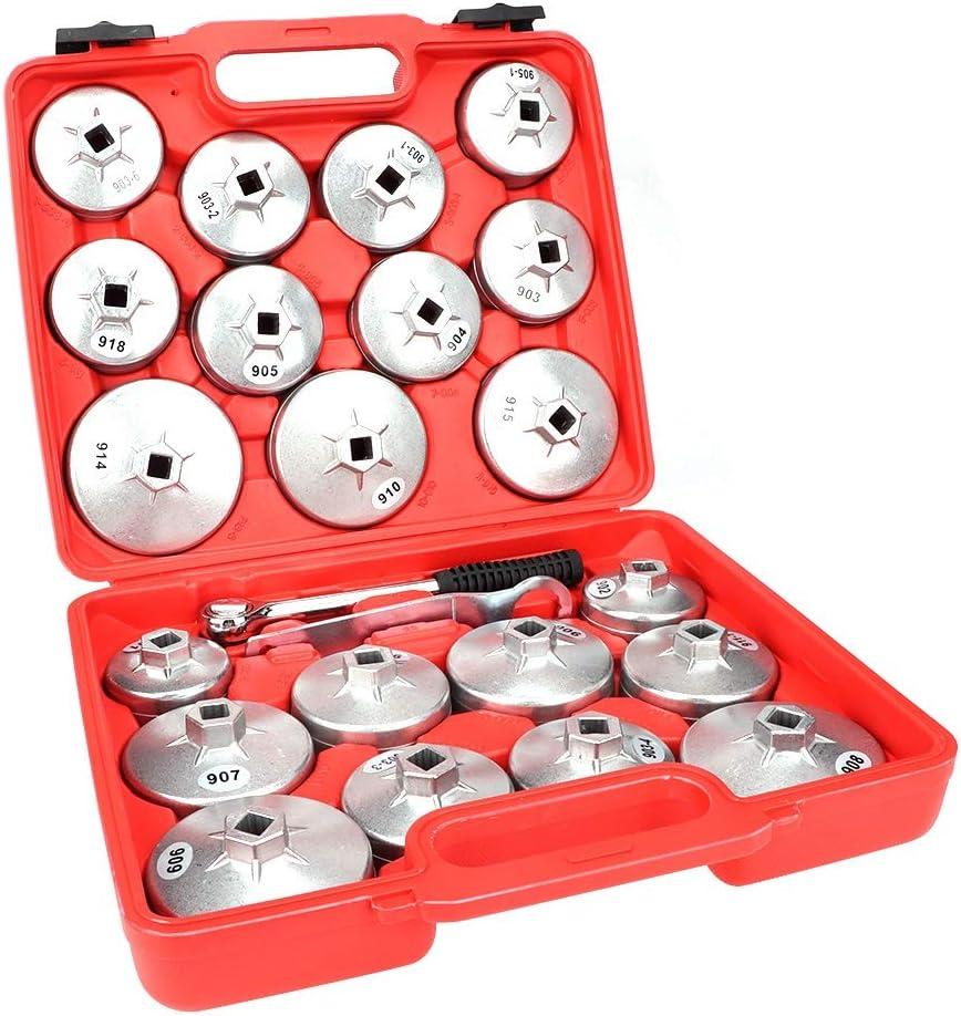 23 Pezzi Filtro Dellolio Cappa del Filtro con Cricchetto Filtro Olio Strumento per Filtro Olio a Tazza Bussola da 65mm a 10mm con Valigetta Rossa