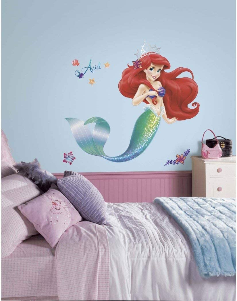 21 Piece Kids Green Purple Red Little Mermaid Wall Decals Set, Disney Themed Wall Stickers Peel Stick, Movie Classic Princess Ariel Fish Ocean Water Sea Sparkling Shells Decorative Mural Art, Vinyl