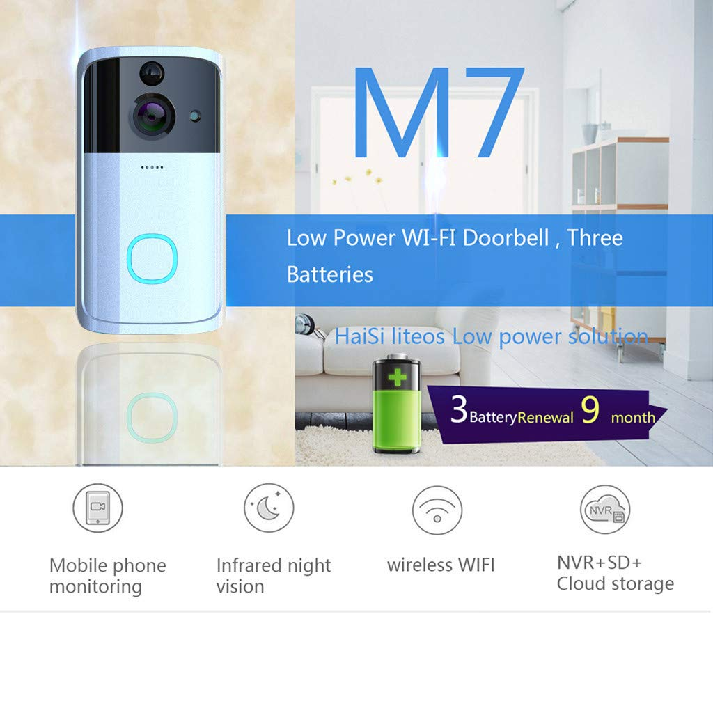 Smart Wireless WiFi Video Doorbell - Visual Intercom Door Bell - High Definition Security Camera - Long Standby Wide Angle PIR Motion Detection Night Vision Remote Home Monitor Intertalk (Silver)