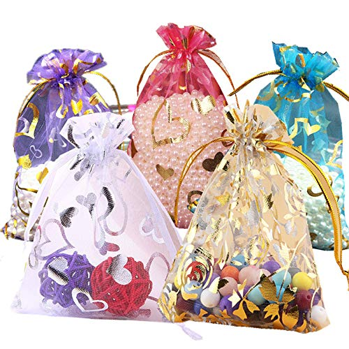 Wedding Party Gift Bags for Wedding &Christmas Favor,Sheer Drawstring Organza Bags 4x6,Jewelry Pouches Drawstring Bags 50pcs(5colors)