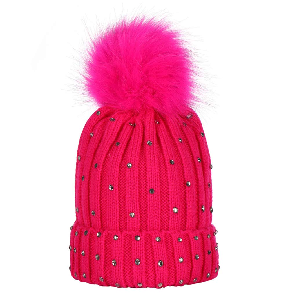 Lamdoo Kids Children Winter Ribbed Knitted Hemming Hat Rhinestone Embellishment Fluffy Pompom Ball Cuffed Crotchet Beanie Cap Solid Color 8 Colors Beige