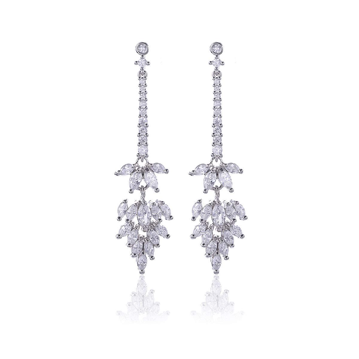Floral Leaf Cluster Stud Earrings 14K Plated Marquise Crystal CZ Stud Hypoallergic Earrings For Women Girls