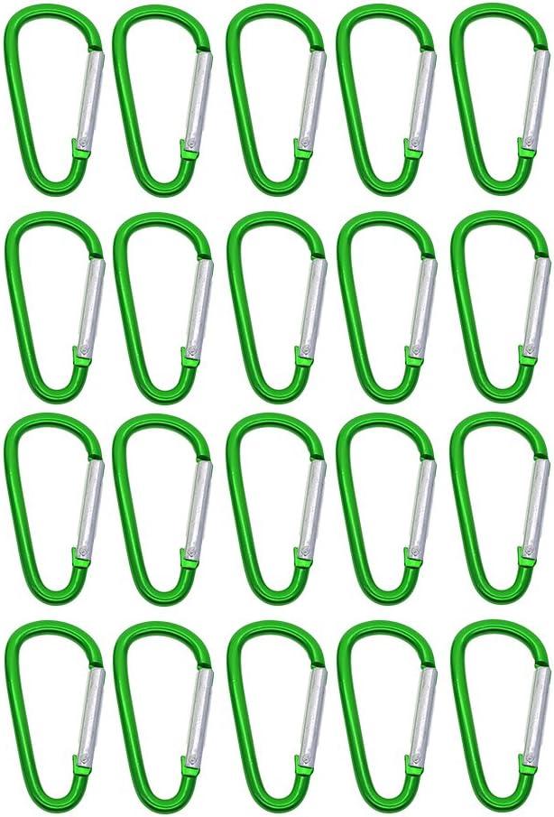 D DOLITY 20pcs Mousqueton Porte Cl/és Solide Multifonction Aluminium D-Anneau Mousqueton Clip Verrouillage Accessoires pour /Équitation Camping Randonn/ée P/édestre Activit/és de Plein air