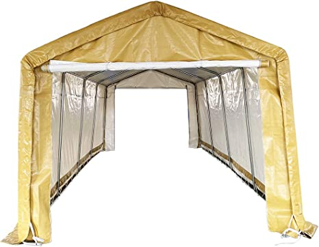 Kdgarden Replacement Top Cover For 10x20 Feet 10 Legs Carport Canopy Garage Tent Storage Shelter Tarp Cover With Ropes Khaki Amazon Ca Patio Lawn Garden