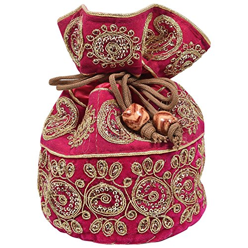 (Craft Trade Silk Beaded Potli Bag Drawstring Embroidered Ethnic Designer Pouch/Coin/Jewellery Purse for Women & Girls)