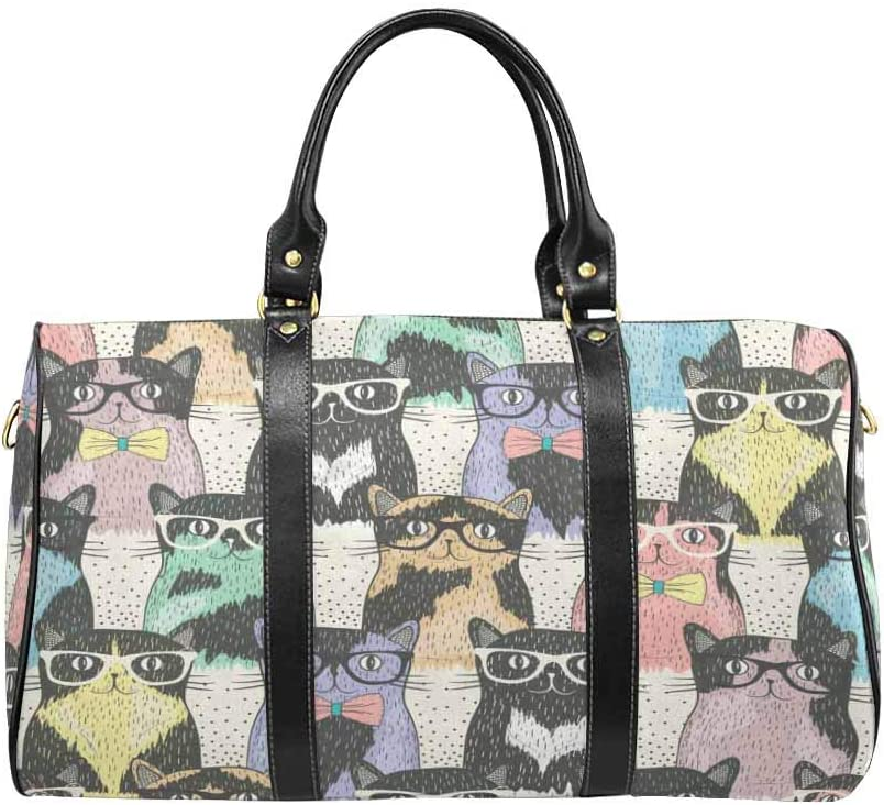 InterestPrint Carry-on Garment Bag Travel Bag Duffel Bag Weekend Bag Cute Cats with Glasses