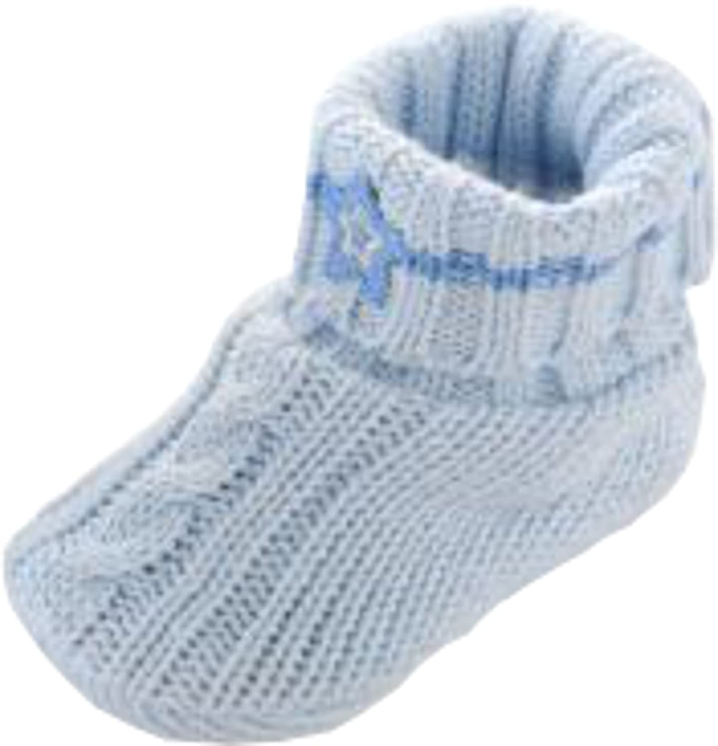 Amazon First Moments Cable Knit Baby Booties Blue Infant And