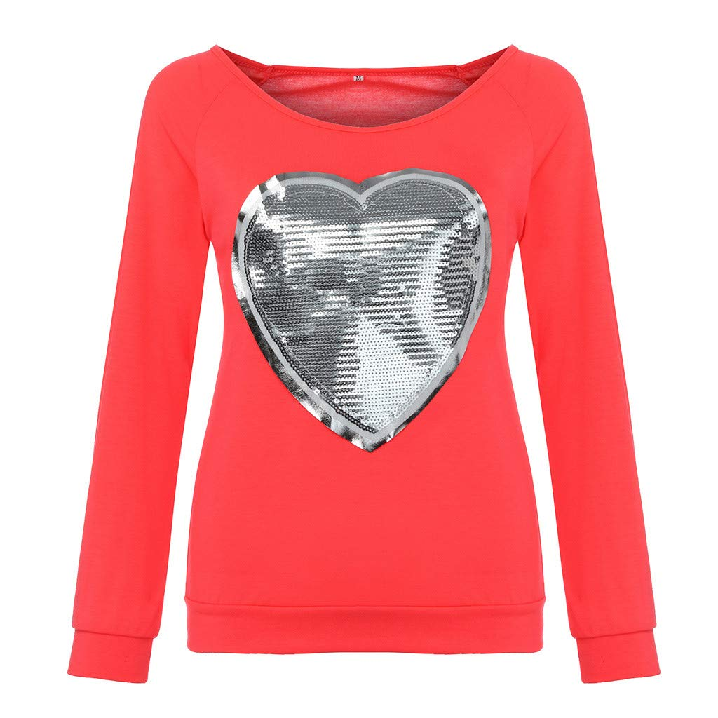 OSTELY Womens Pullover Plus Size Sweatshirts, Long Sleeve Casual Loose Candy Fluorescent Round Neck Heart Sequin T-Shirt Hot Pink