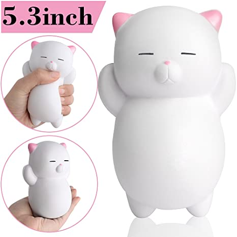 Outee Squishies Slow Rising, Jumbo Gato Blanco Squishy Slow Rising Gato Squishies Scented Jumbo Kawaii