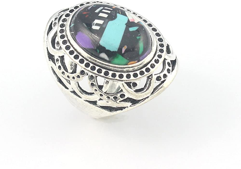 HIGH FINISH RAINBOW CALSILICA FASHION JEWELRY .925 SILVER PLATED RING 8 S23256