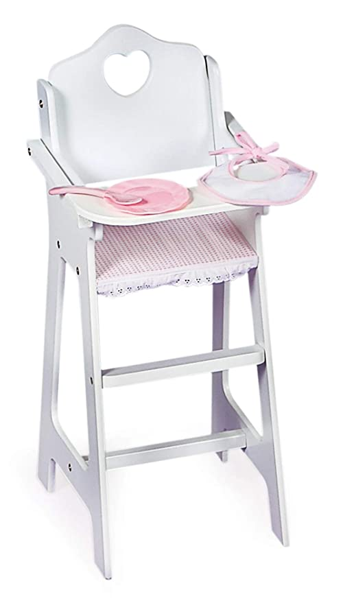 c104ab8e517a Amazon.com  Badger Basket White Doll High Chair with Plate