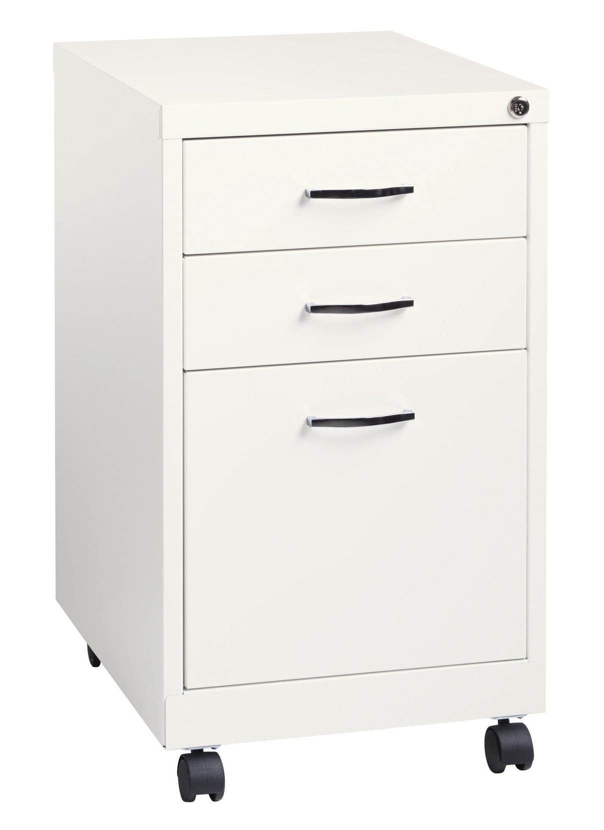 Space Solutions 19'' Deep Metal Pedestal File Cabinet with Wheels - Home Office Collection - White