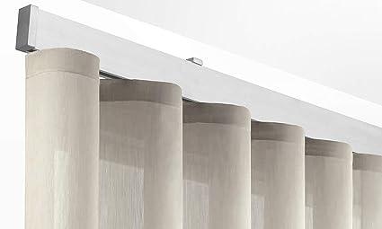 Tende A Onde.X Profiles Binario Decorativo Per Tende A Onde Wave 35x13 5 Mm A Parete Supporto 150 Mm Con Tappo Terminale Da 8 Mm Completo In Alluminio