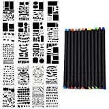 Outgeek 20PCS Drawing Template Stencil Painting Stencil Mix Pattern Hollow out Template with 12 Color Pen
