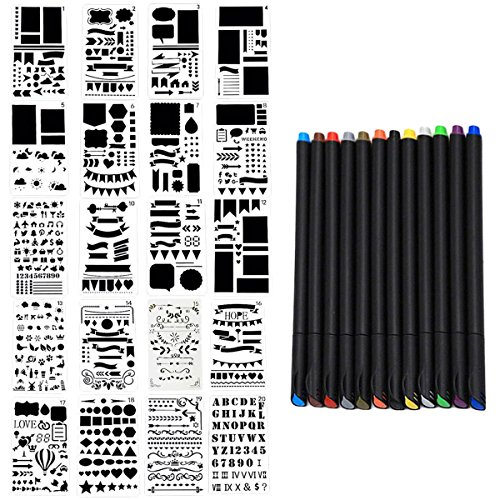 Outgeek 20PCS Drawing Template Stencil Painting Stencil Mix Pattern Hollow out Template with 12 Color Pen by Outgeek