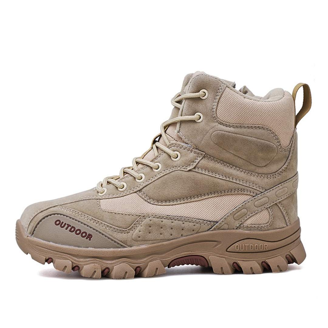 Tactical Military Boots Men Leather Army Hunting Trekking Camping Mountaineering Winter Work Shoes Beige 8 by CNSDLK