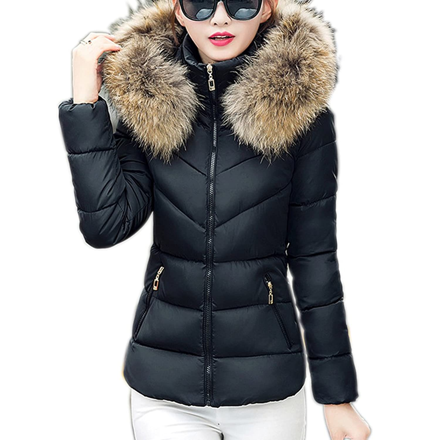 Womens Faux Fur Hooded Parka Jacket Quilted Padded Down Short ...