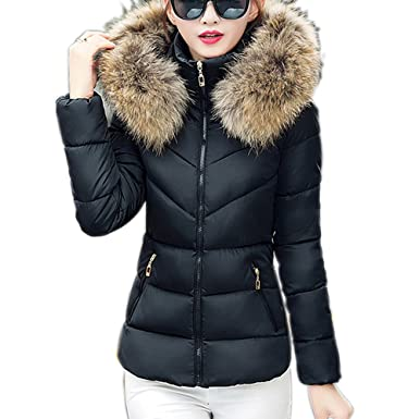 1c5f2df39 skyblue-uk Womens Faux Fur Hooded Parka Jacket Quilted Padded Down Short  Winter Puffer Coat Overcoat