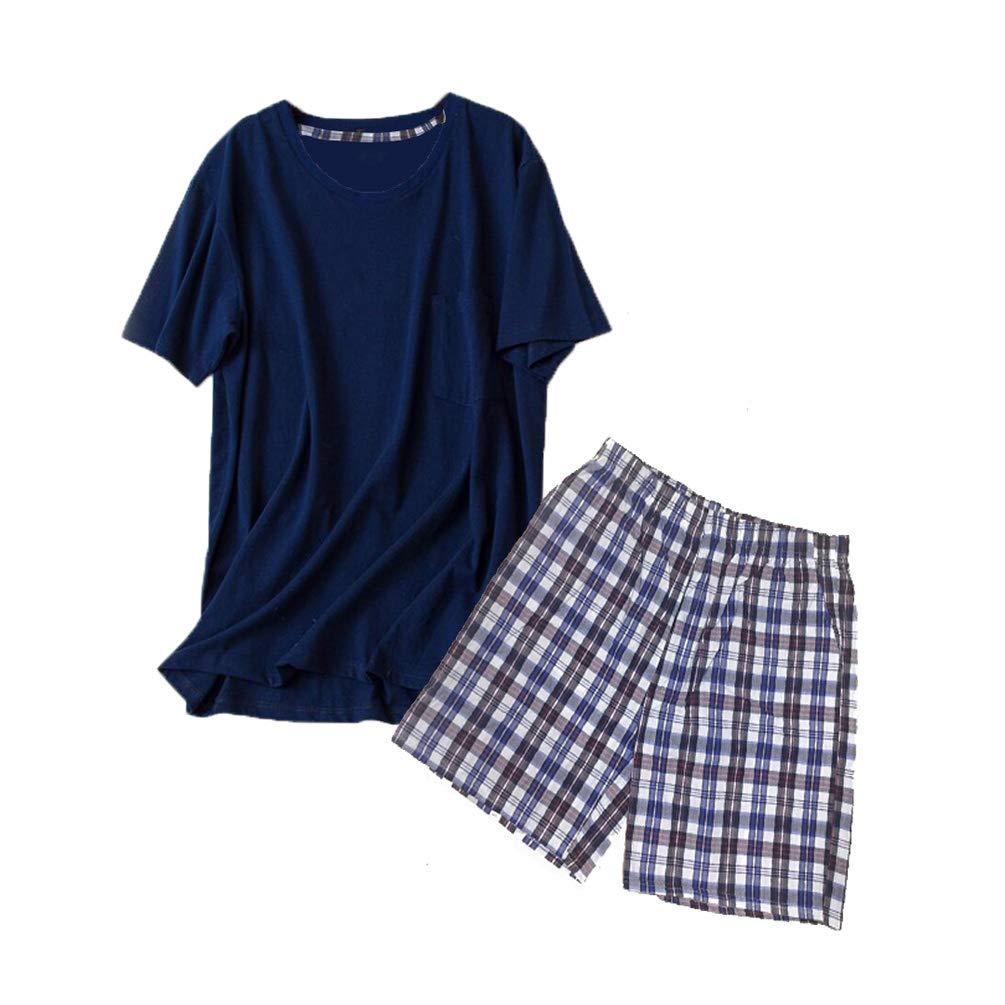 ENJOYNIGHT Men's Summer Short Sleeve Pajamas Adult Casual Shorts & Shirt PJ Set (Medium, Deep Blue)