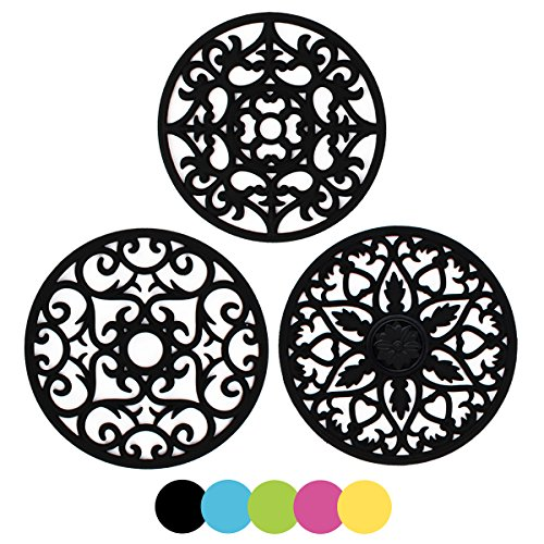 ME.FAN 3 Set Silicone Multi-Use Intricately Carved Trivet Mat - Insulated Flexible Durable Non Slip Coasters (Black) ()