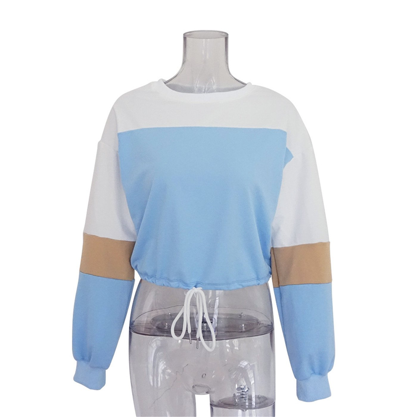ULUIKY Occident Style Womens Long Sleeve Round Neck Cropped Loose Color Block Sweatshirt Top (XL, Blue)
