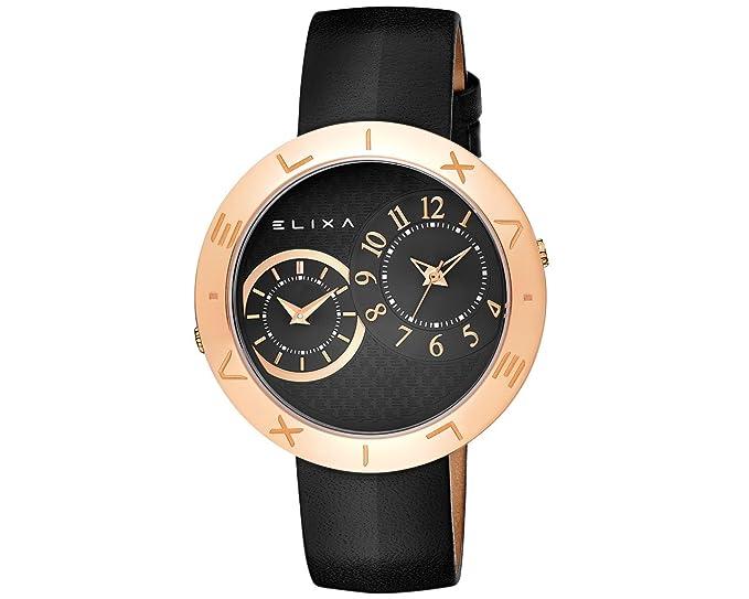 Elixa e123-l507 Dual tiempo negro de la mujer reloj oro rosa caso negro manchas