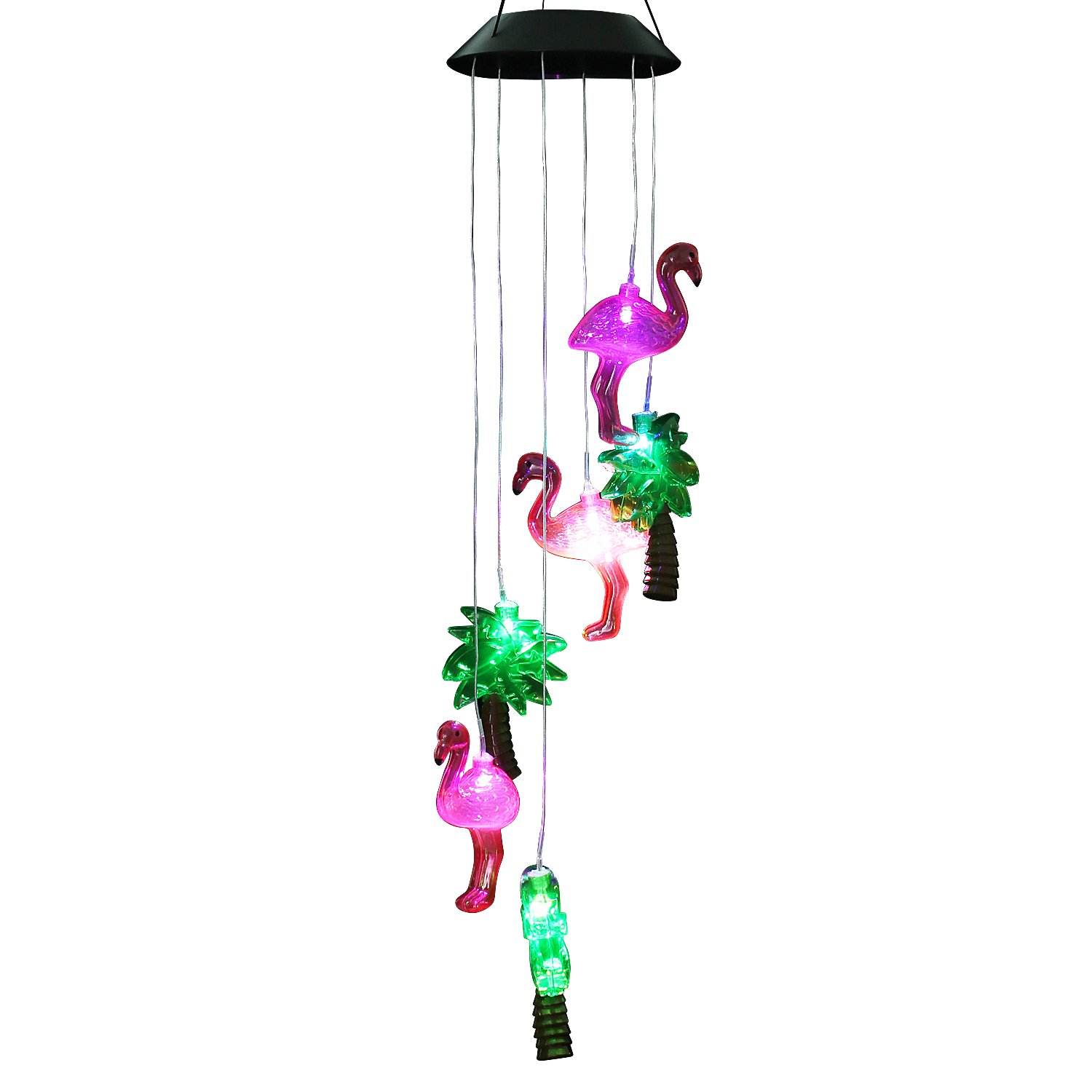 AceList Changing Color Solar Powered Flamingo Wind Moblie LED Light, Spiral Spinner Windchime Portable Outdoor Chime for Patio, Deck, Yard, Garden, Home, Pathway