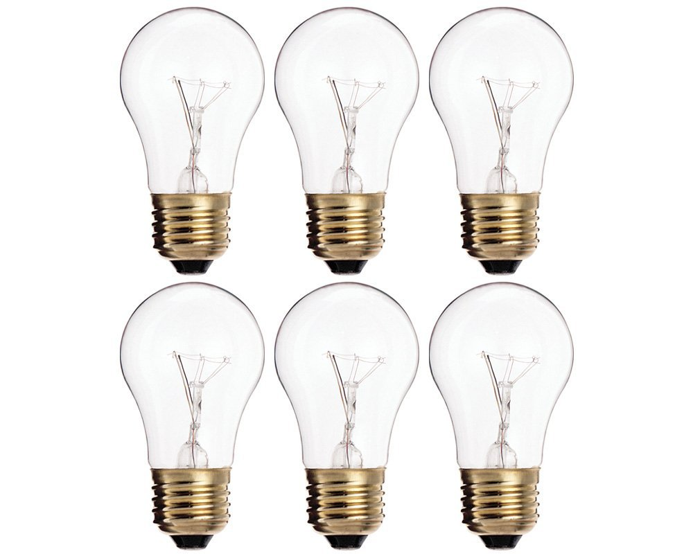 (Pack Of 6) 40A15/CL - 40-Watt A15 Incandescent Appliance Bulb - Clear Finish - Medium (E26) - Standard US Size Household Base 40W