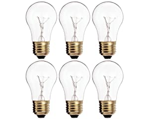 (Pack Of 6) 25A15/CL - 25-Watt A15 Incandescent Appliance Bulb - Clear Finish - Medium (E26) - Standard US Size Household Base 25W