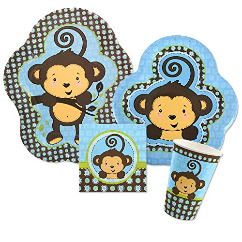 Big Dot of Happiness Blue Monkey Boy - Baby Shower or Birthday Party Tableware Plates, Cups, Napkins - Bundle for 16