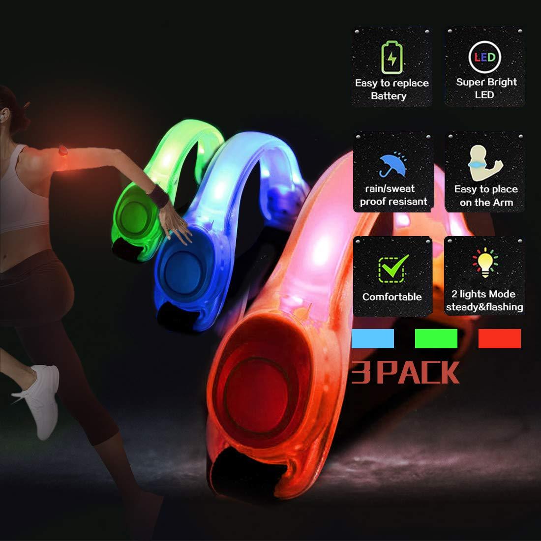 N NEWKOIN LEDアームバンド 高視認性 調節可能な反射ブレスレット 暗闇で光る ランニング ジョギング サイクリング 安全ランニングギア B07N3XV4D2 Red+Green+Blue