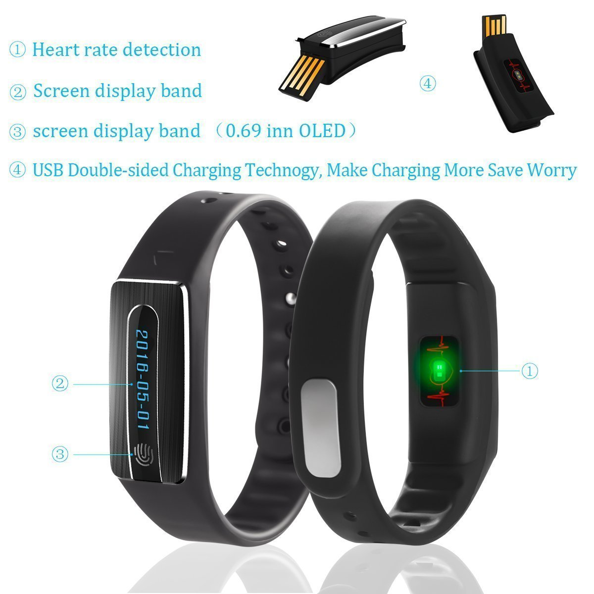 SinoPro Bluetooth Fitness Tracker Smart Bracelet Wristband with NFC Heart Rate Sleep Monitor Pedometer Activity Tracker Call Reminder Remote Capture Functions for iPhone and Android Smartphones