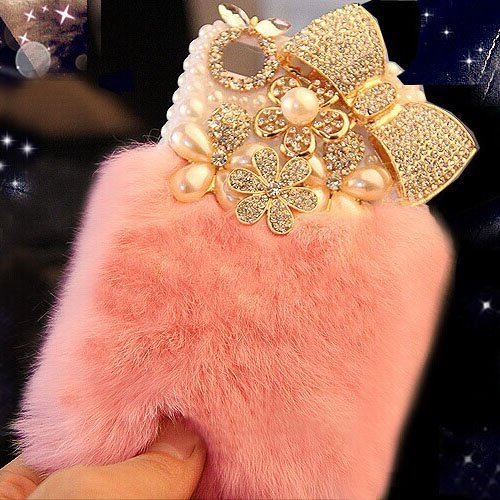 Aikeduo Iphone5s Case Handmade Bling Crystal Rabbit Fur Rhinestone Case Cover for Iphone 5s Warm Case (Bowknot pink)